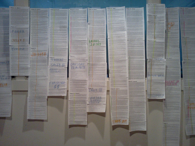 pages of a novel printed at 6 pt type and taped to the wall with color notations